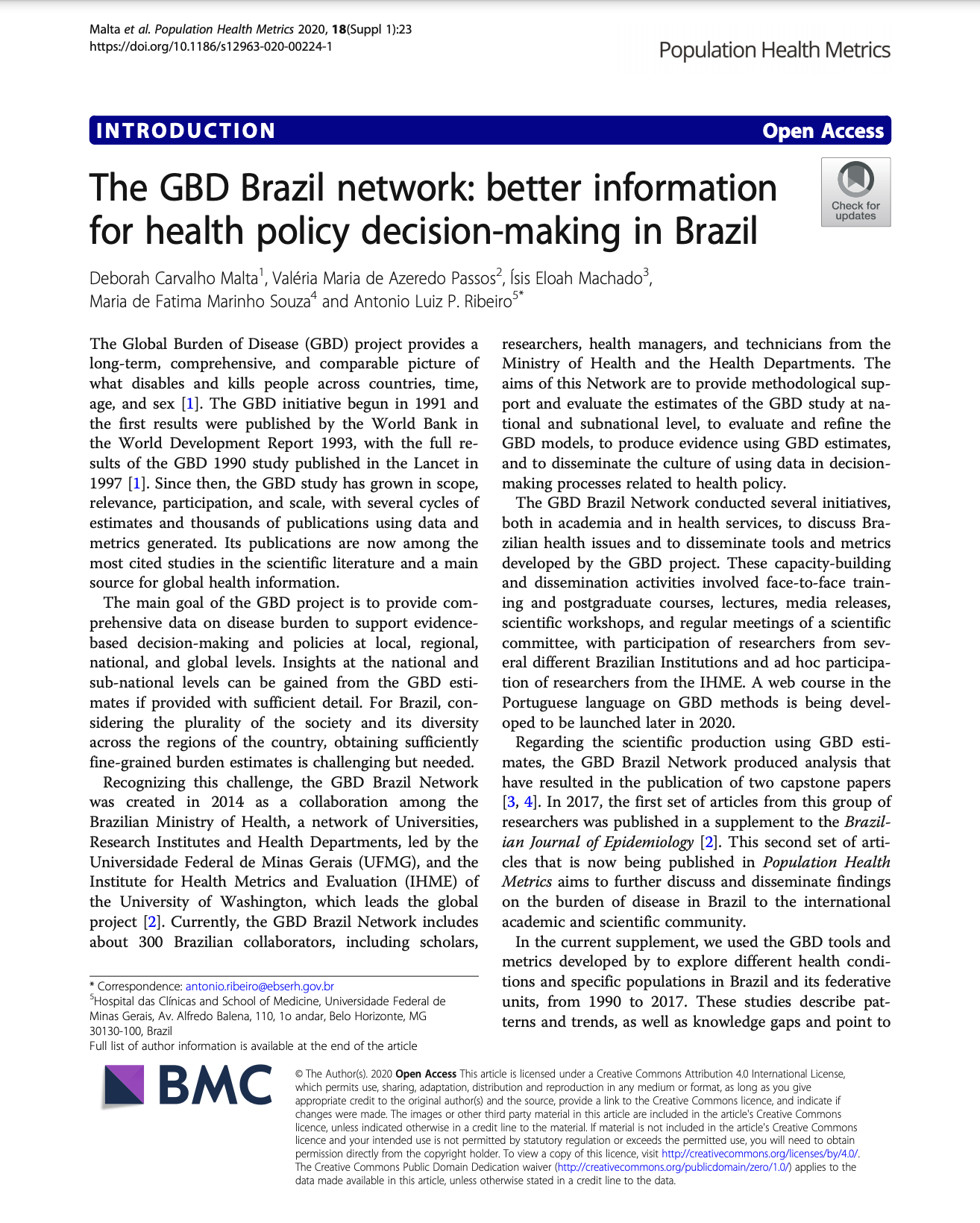 The GBD Brazil network: better information for health policy decision-making in Brazil thumbnail