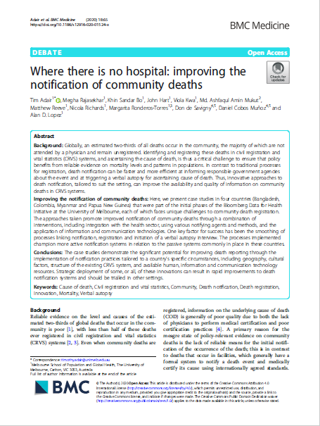 Where there is no hospital: improving the notification of community deaths thumbnail