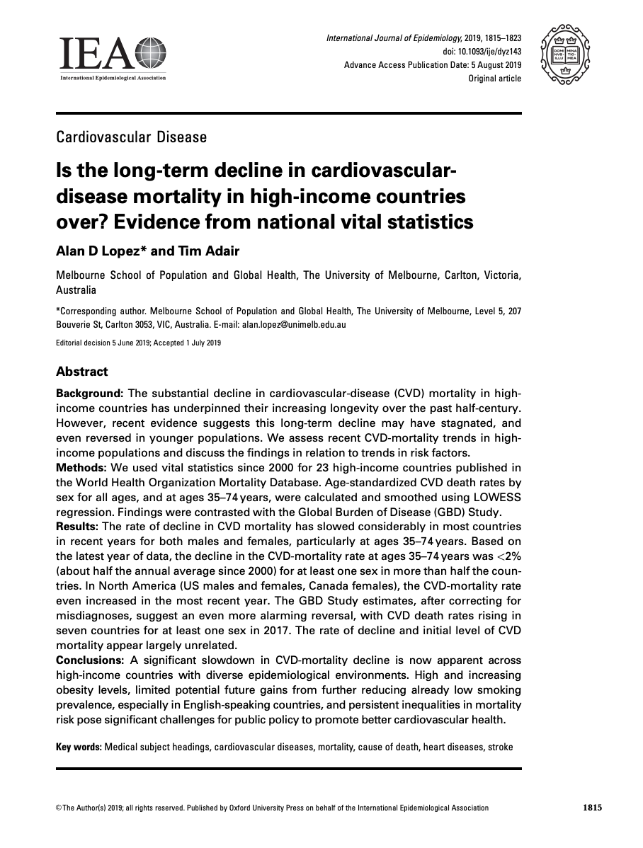 Is the long-term decline in cardiovasculardisease mortality in high-income countries over? Evidence from national vital statistics thumbnail