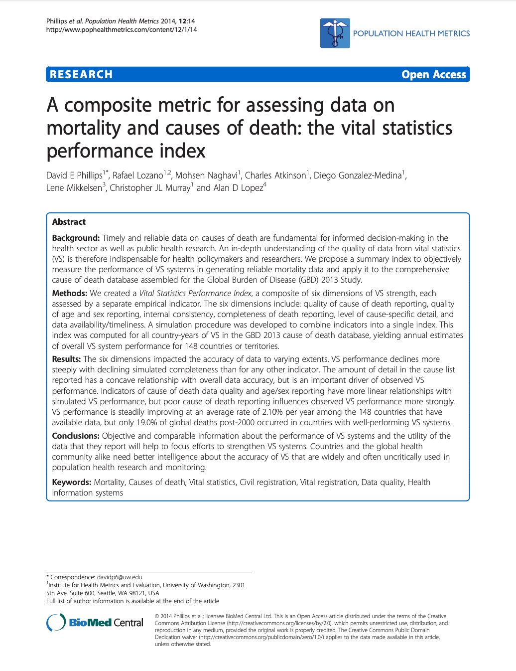 A composite metric for assessing data on mortality and causes of death: the vital statistics performance index THUMBNAIL