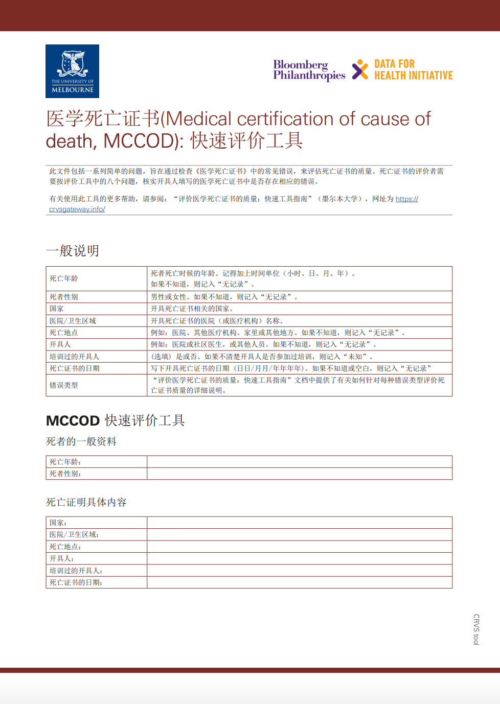 Medical certification of cause of death (MCCOD): Rapid assessment tool (Chinese version) thumbnail