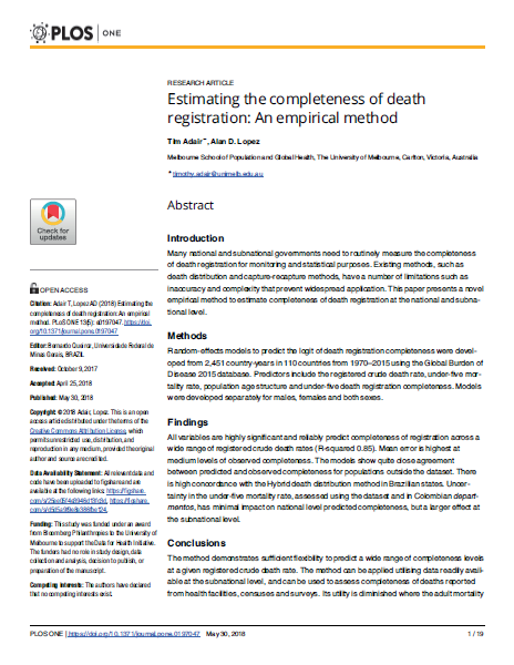 Estimating the completeness of death registration: An empirical method