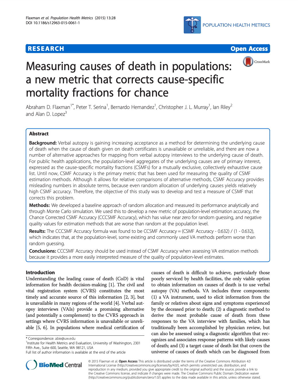 Measuring causes of death in populations: a new metric that corrects cause-specific mortality fractions for chance thumbnail