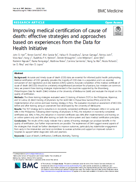 Improving medical certification of cause of death: effective strategies and approaches based on experiences from the Data for Health Initiative thumbnail