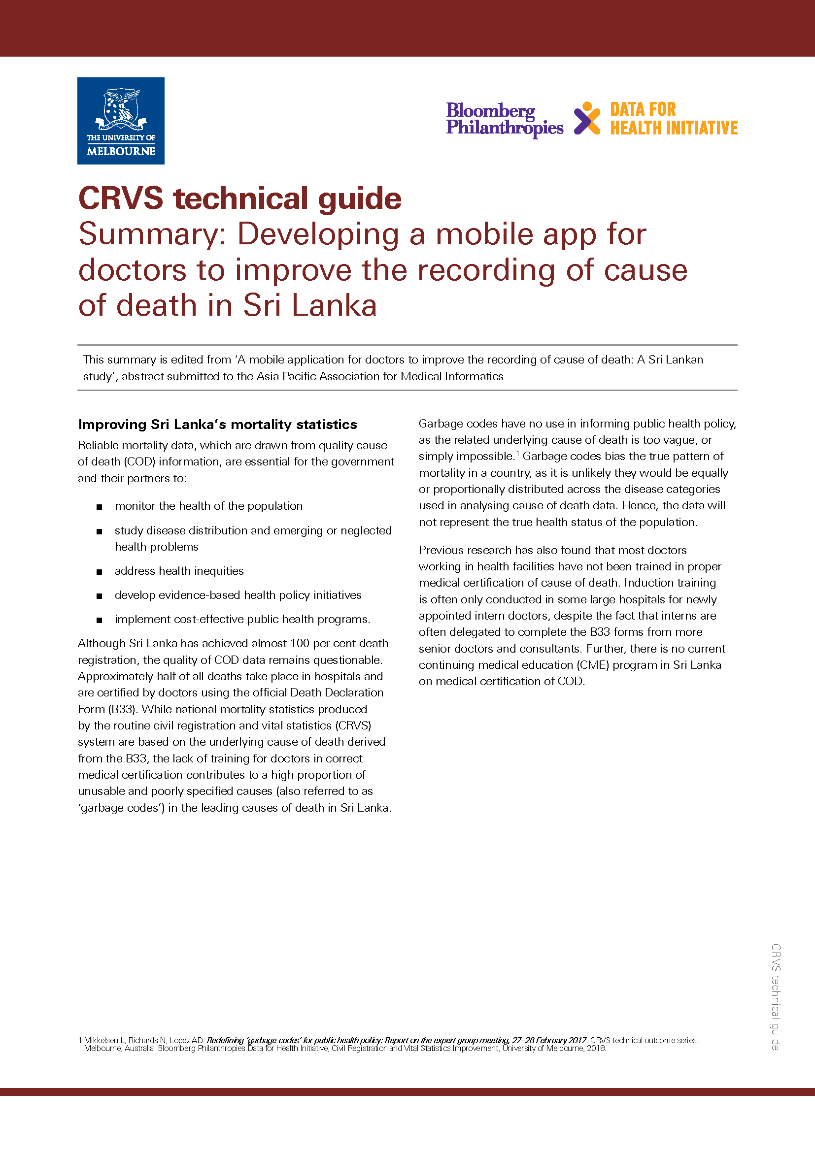 Summary: Developing a mobile app for doctors to improve the recording of cause of death in Sri Lanka thumbnail