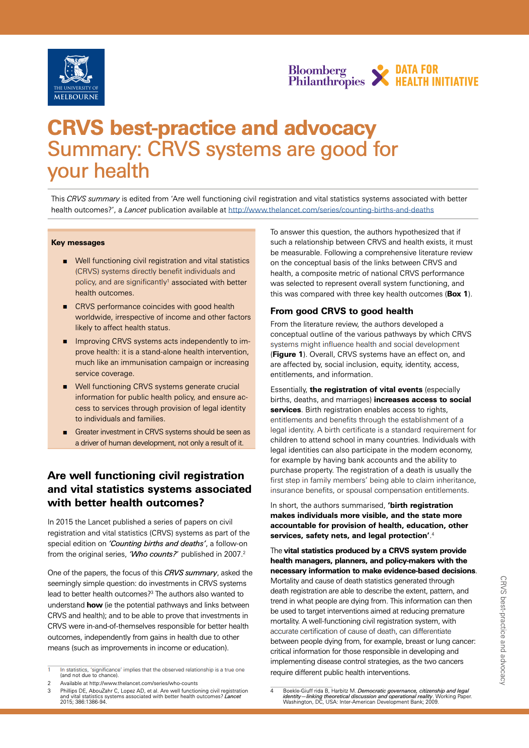 CRVS best-practice and advocacy Summary: CRVS systems are good for your health thumbnail