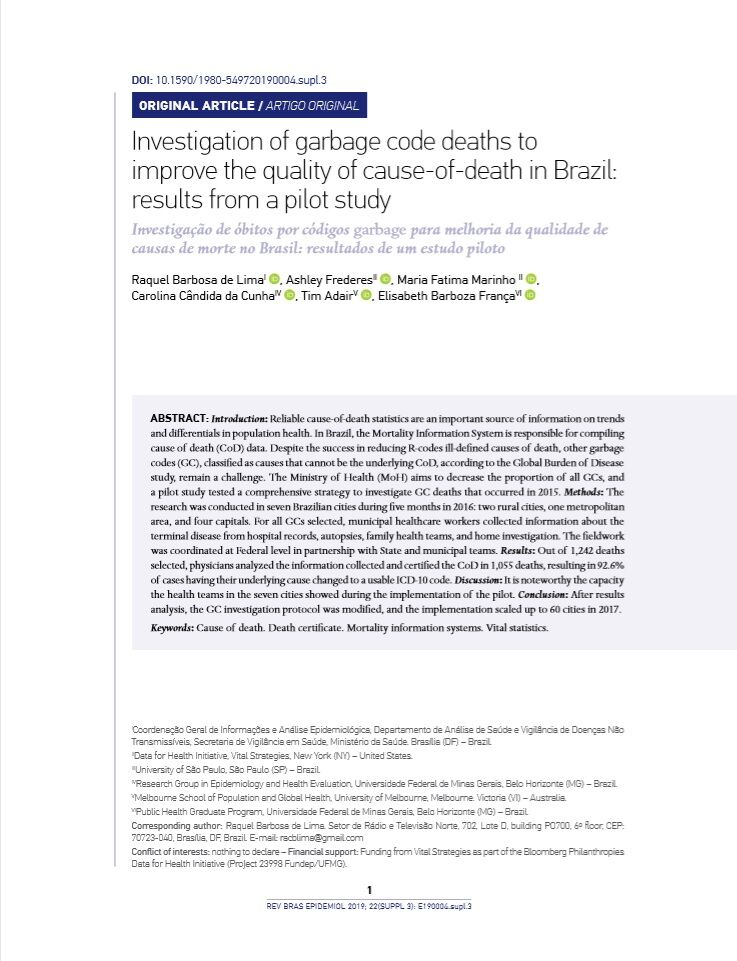 Investigation of garbage code deaths to improve the quality of cause of death in Brazil thumbnail