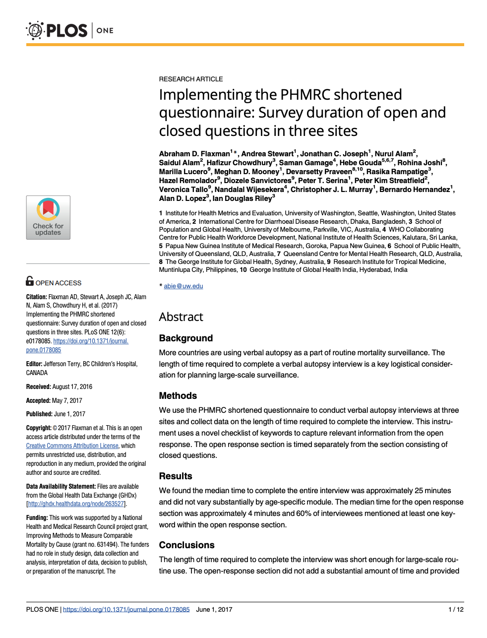 Implementing the PHMRC shortened questionnaire: Survey duration of open and closed questions in three sites thumbnail