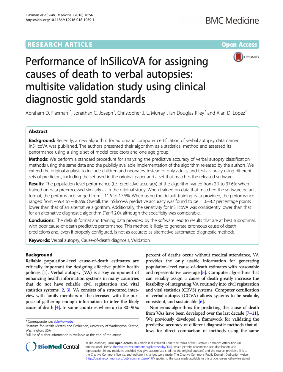 Performance of InSilicoVA for assigning causes of death to verbal autopsies: multisite validation study using clinical diagnostic gold standards thumbnail