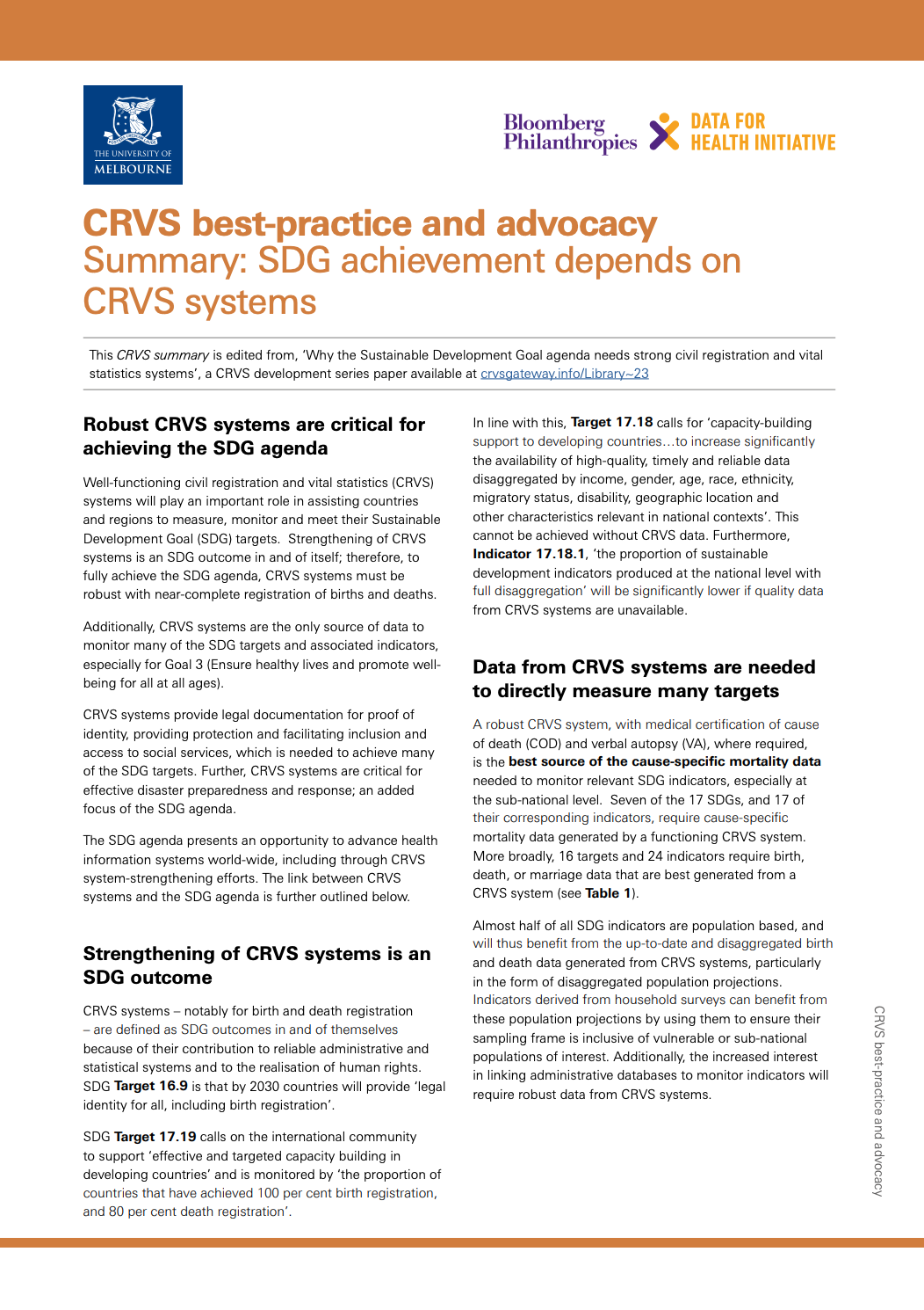 CRVS best-practice and advocacy Summary: SDG achievement depends on CRVS systems thumbnail