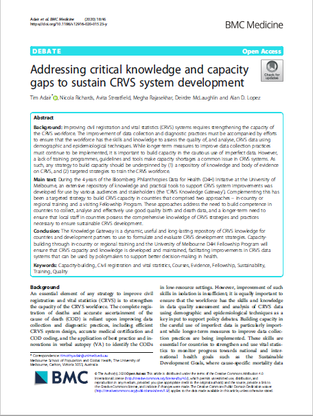 Addressing critical knowledge and capacity gaps to sustain CRVS system development thumbnail