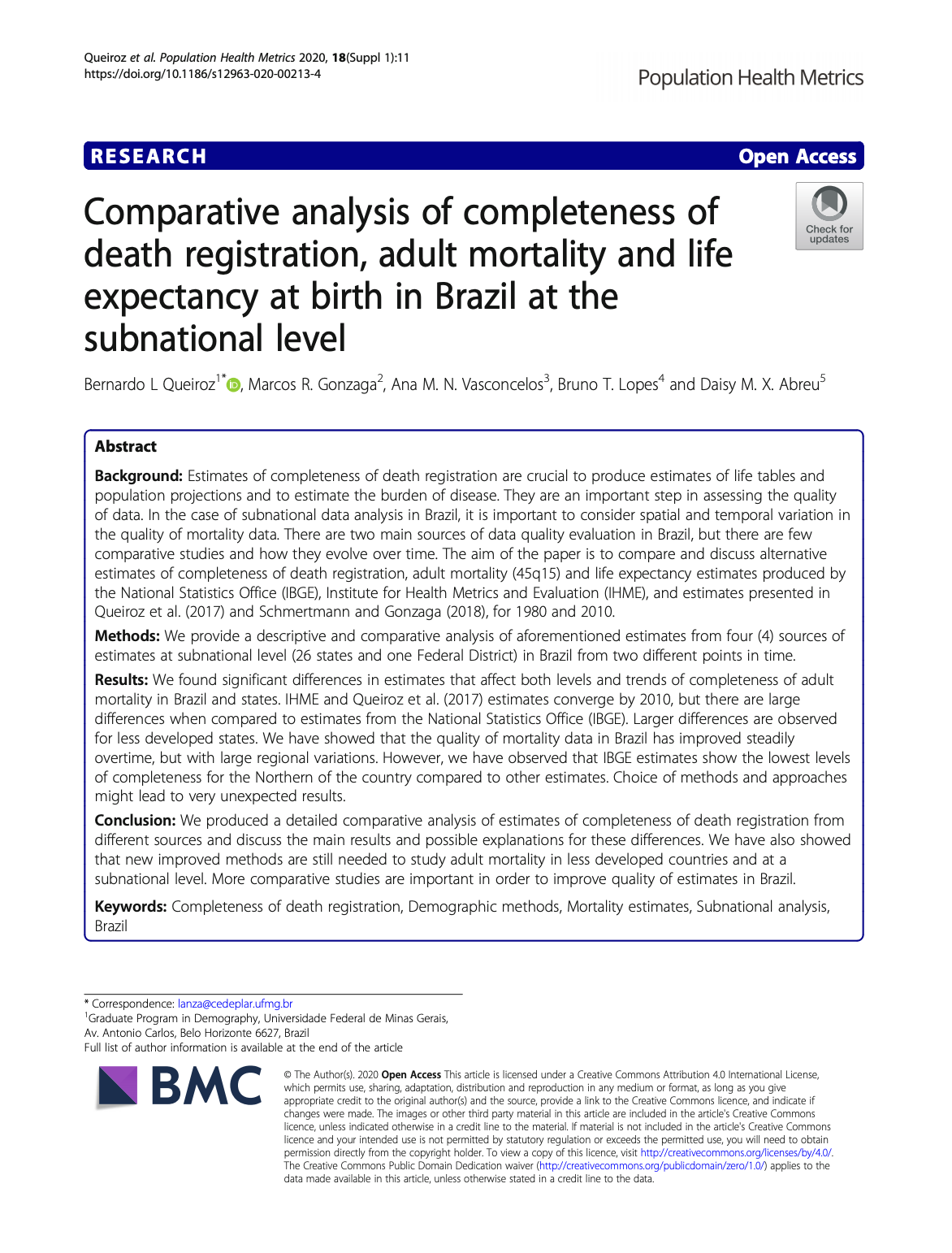 Comparative analysis of completeness of death registration, adult mortality and life expectancy at birth in Brazil at the subnational level thumbnail