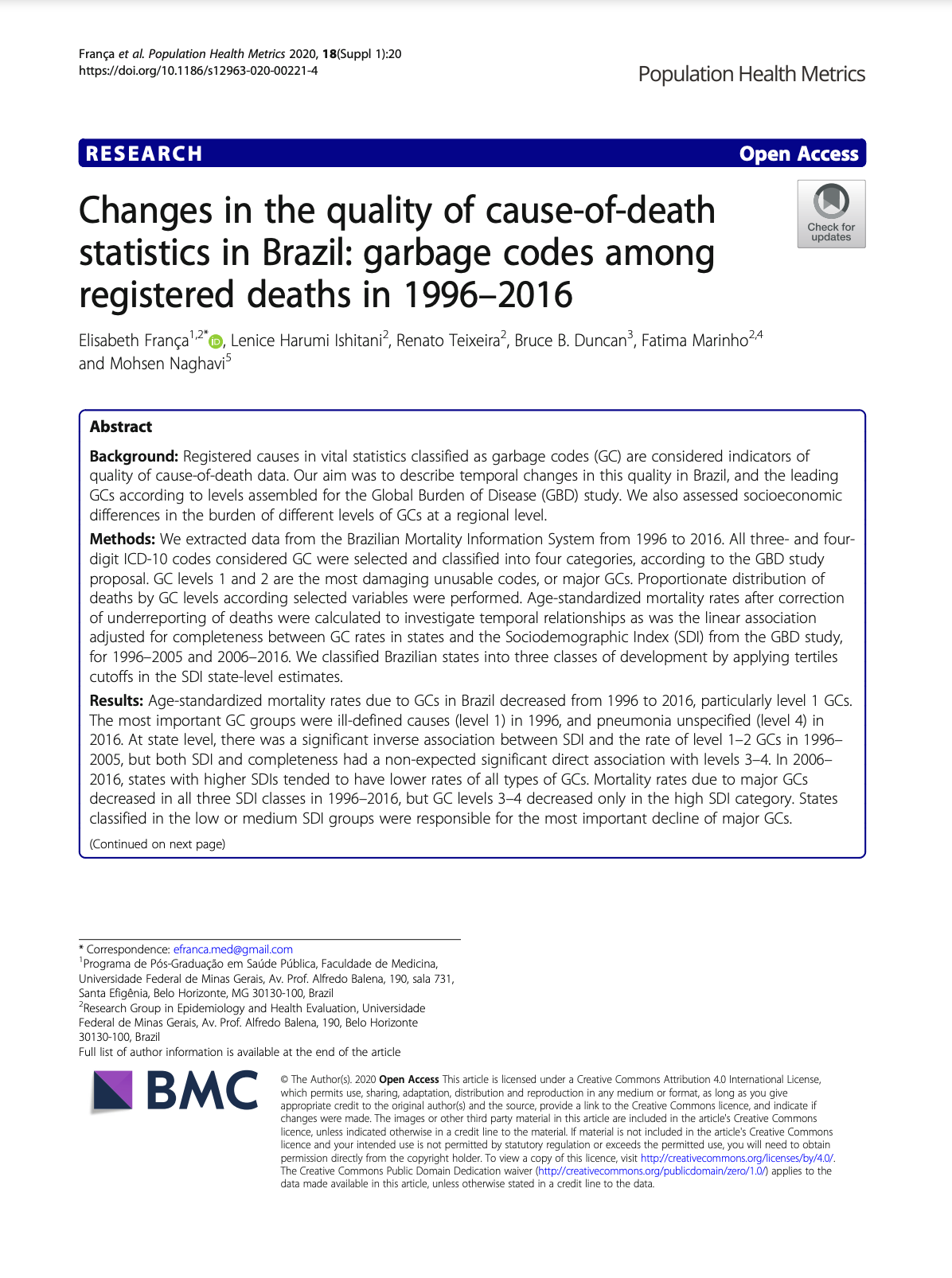 Changes in the quality of cause-of-death statistics in Brazil: garbage codes among registered deaths in 1996–2016 thumbnail