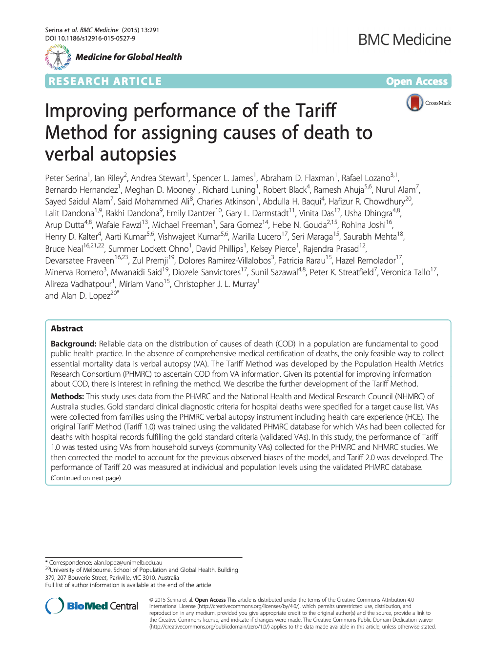 Improving performance of the Tariff Method for assigning causes of death to verbal autopsies thumbnail