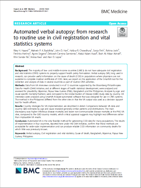 Automated verbal autopsy: from research to routine use in civil registration and vital statistics systems thumbnail