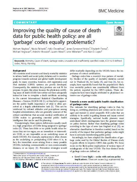 Improving the quality of cause of death data for public health policy: are all 'garbage' codes equally problematic? thumbnail