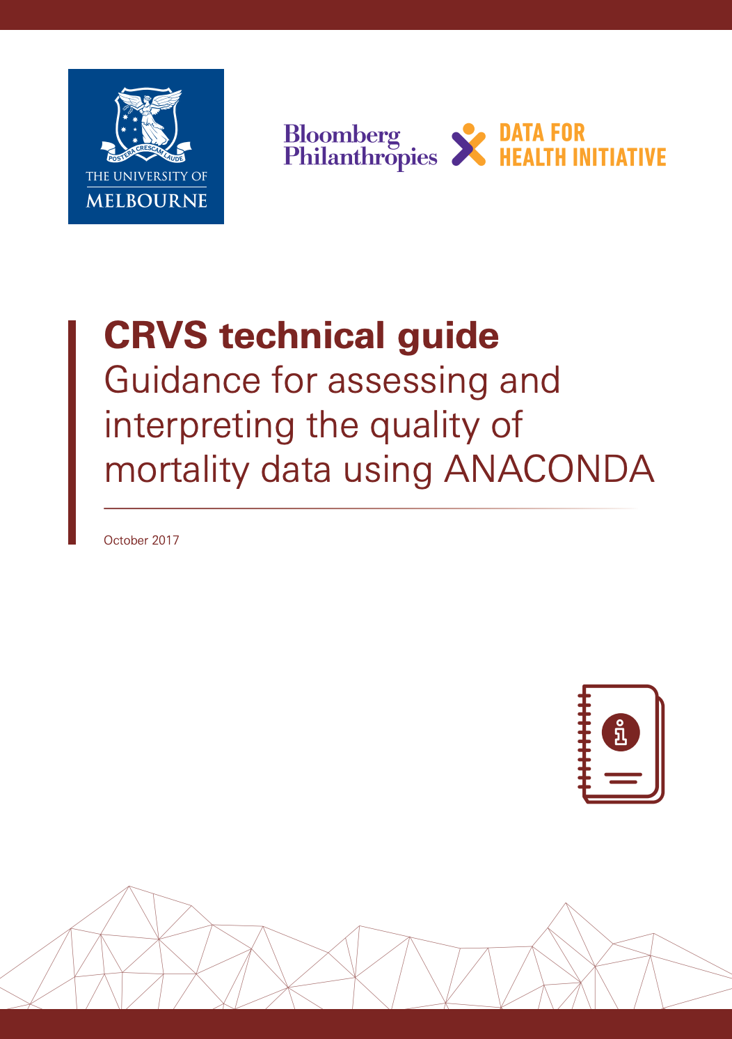 CRVS technical guide - Guidance for assessing and interpreting the quality of mortality data using ANACONDA thumnbail