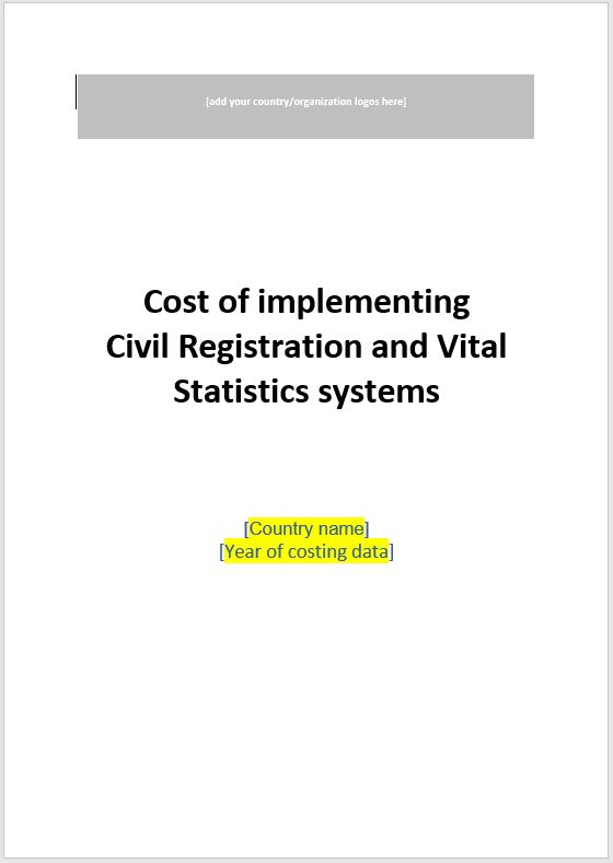 20_CRVS Costing Tool_Report template_March2019