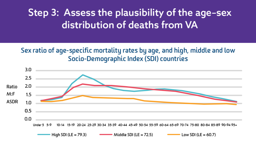 Step 3: Assess the plausibility of the age–sex distribution of deaths from VA