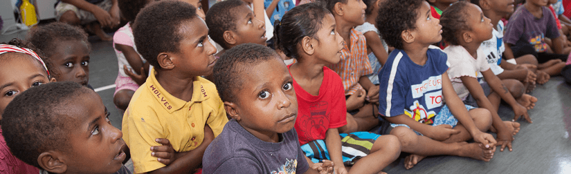 Image of children in class in Port Moresbey