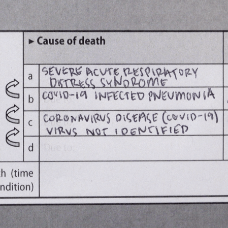 Image of a Coronavirus (COVID-19) Medical Cause of Death Certificate
