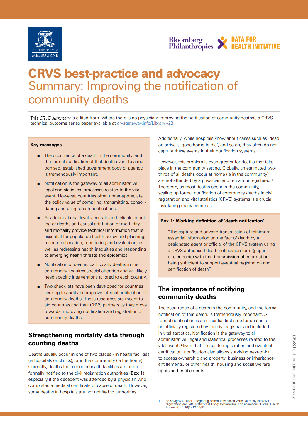 CRVS best-practice and advocacy Summary: Improving the notification of community deaths thumbnail