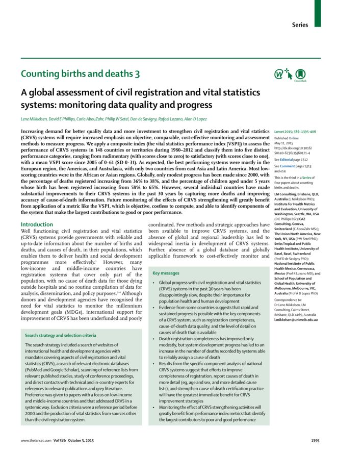 A global assessment of civil registration and vital statistics systems: monitoring data quality and progress thumbnail