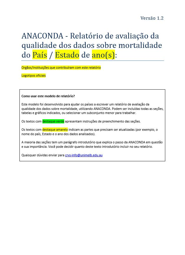 ANACONDA mortality and cause of death assessment report template Portuguese version thumbnail (Relatório de avaliação da qualidade dos dados sobre mortalidade)