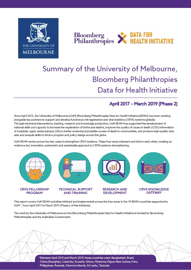 Summary report of the University of Melbourne, Bloomberg Philanthropies Data for Health Initiative - Phase 2 thumbnail
