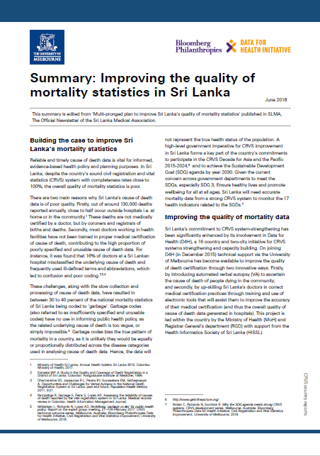 Summary: Improving the quality of mortality statistics in Sri Lanka thumbnail