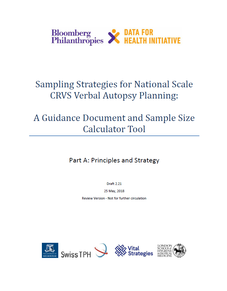 Sampling strategies for national scale CRVS-VA planning: Guidance document and sample size calculator tool thumbnail