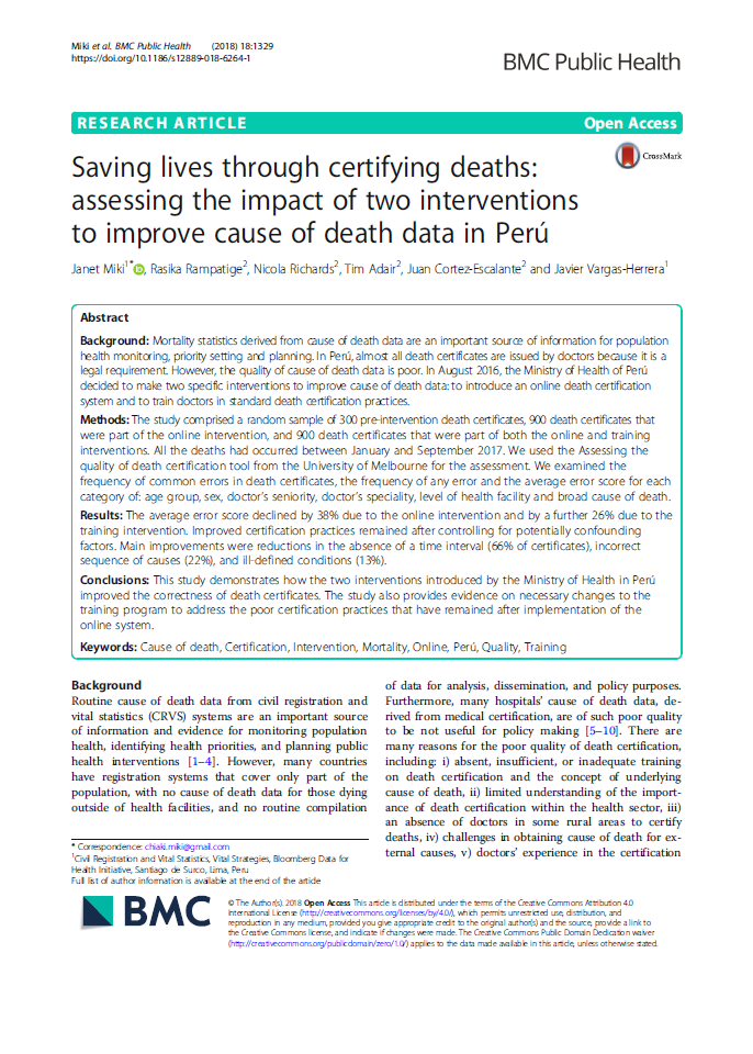 Saving lives through certifying deaths: assessing the impact of two interventions to improve cause of death data in Perú thumbnail