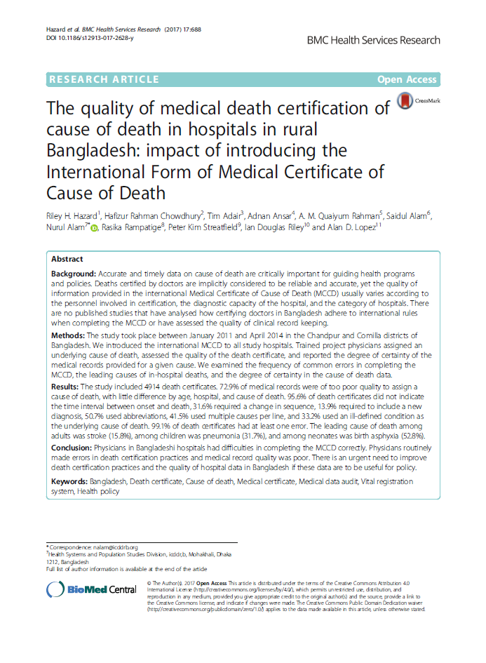 The quality of medical death certification of cause of death in hospitals in rural Bangladesh thumbnail