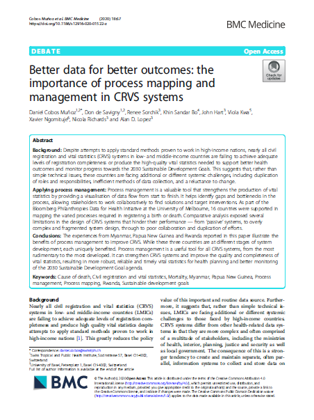 Better data for better outcomes: the importance of process mapping and management in CRVS systems thumbnail