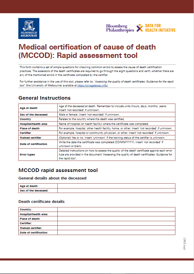 Medical certification of cause of death (MCCOD): Rapid assessment tool thumbnail