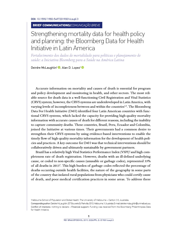 Strengthening mortality data for health policy and planning: the Bloomberg Data for Health Initiative in Latin America thumbnail
