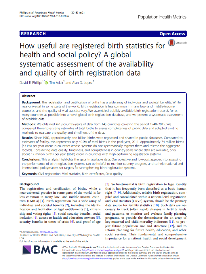 How useful are registered birth statistics for health and social policy? A global systematic assessment of the availability and quality of birth registration data thumbnail