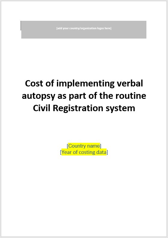 VA Costing Tool: Report template thumbnail