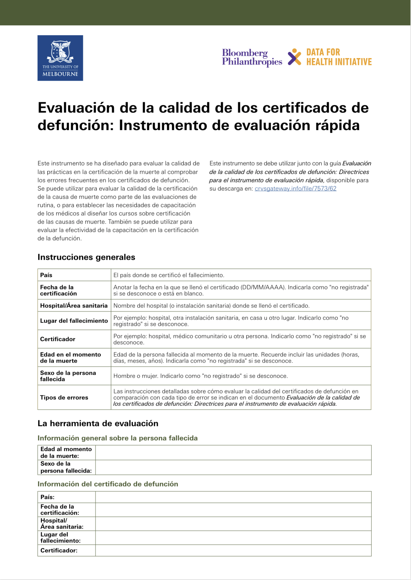 Assessing the quality of death certificates: Rapid tool - Spanish version (Evaluación de la calidad de los certificados de defunción: Instrumento de evaluación rápida) thumbnail