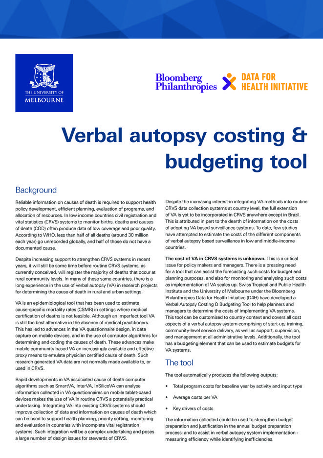 Course prospectus: Verbal autopsy costing and budgeting tool thumbnail