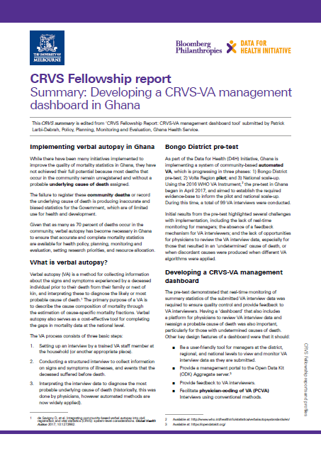 Ghana: Developing a CRVS-VA management dashboard thumbnail