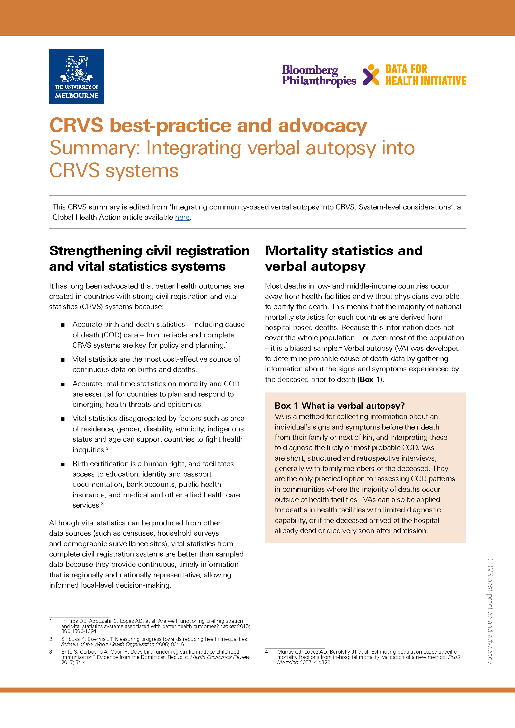 Summary: Integrating verbal autopsy into CRVS systems thumbnail