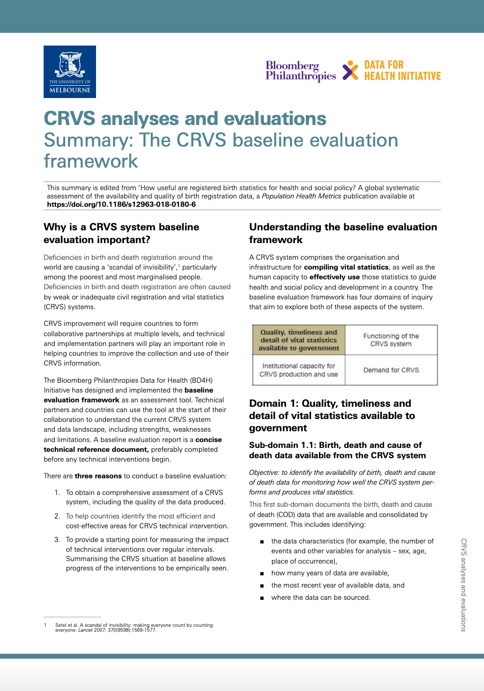 Summary: The CRVS baseline evaluation