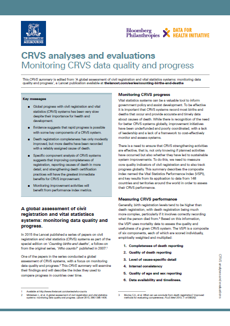 Thumbnail for summary monitoring CRVS data quality and progress
