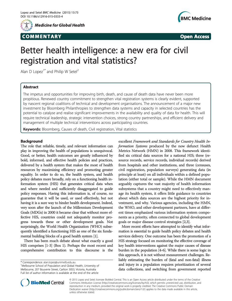 Better health intelligence: a new era for civil