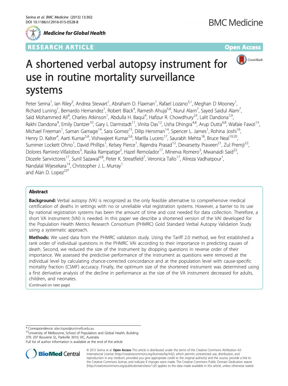 A shortened verbal autopsy instrument for