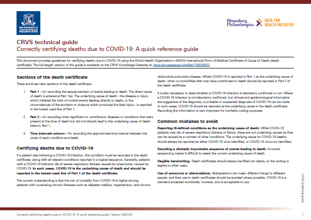 Thumbnail image for resource: Certifying deaths due to COVID-19: A quick reference guide