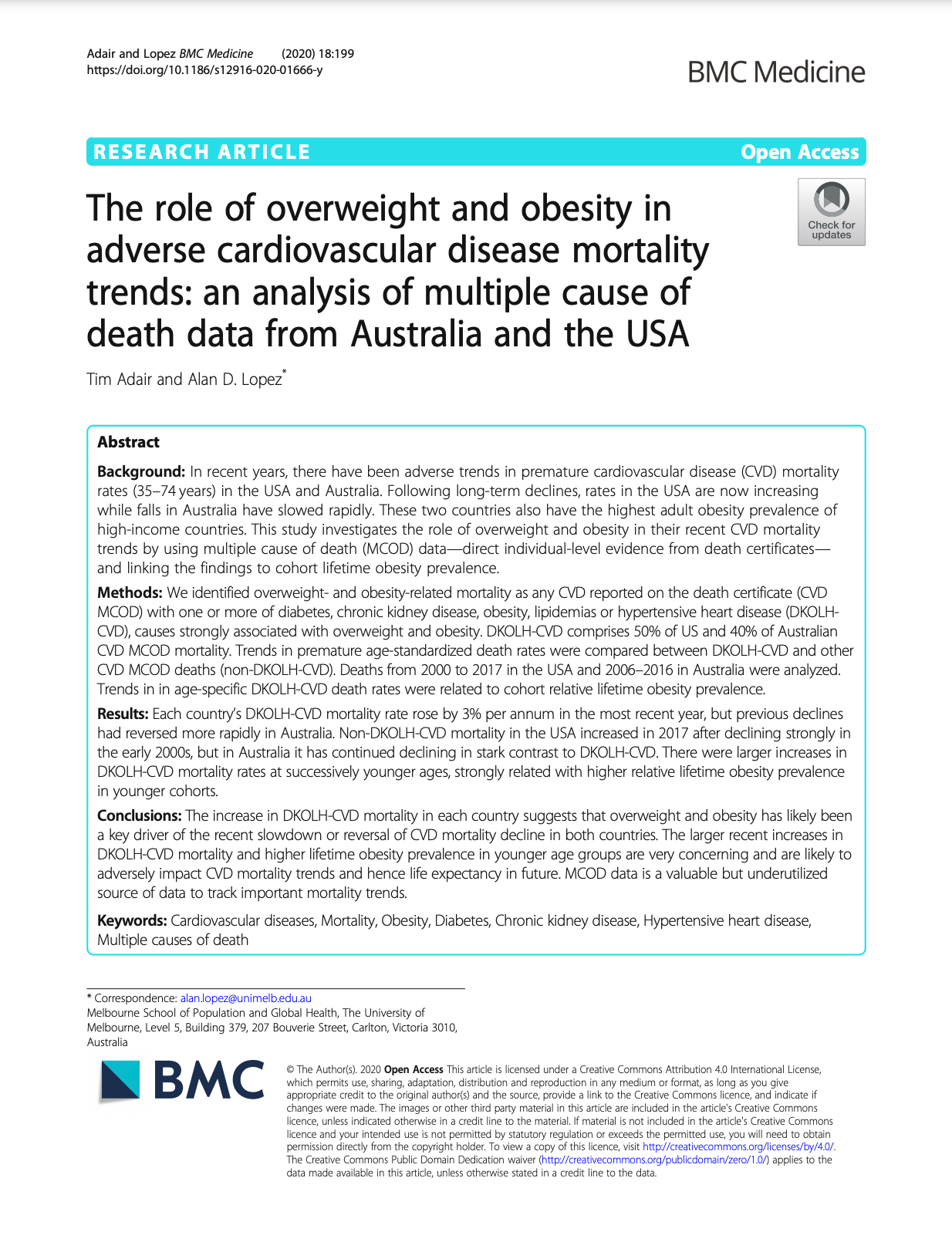The role of overweight and obesity in adverse cardiovascular disease mortality trends: an analysis of multiple cause of death data from Australia and the USA thumbnail