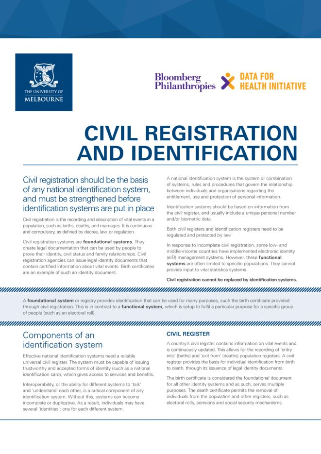 Summary: Civil registration and identification