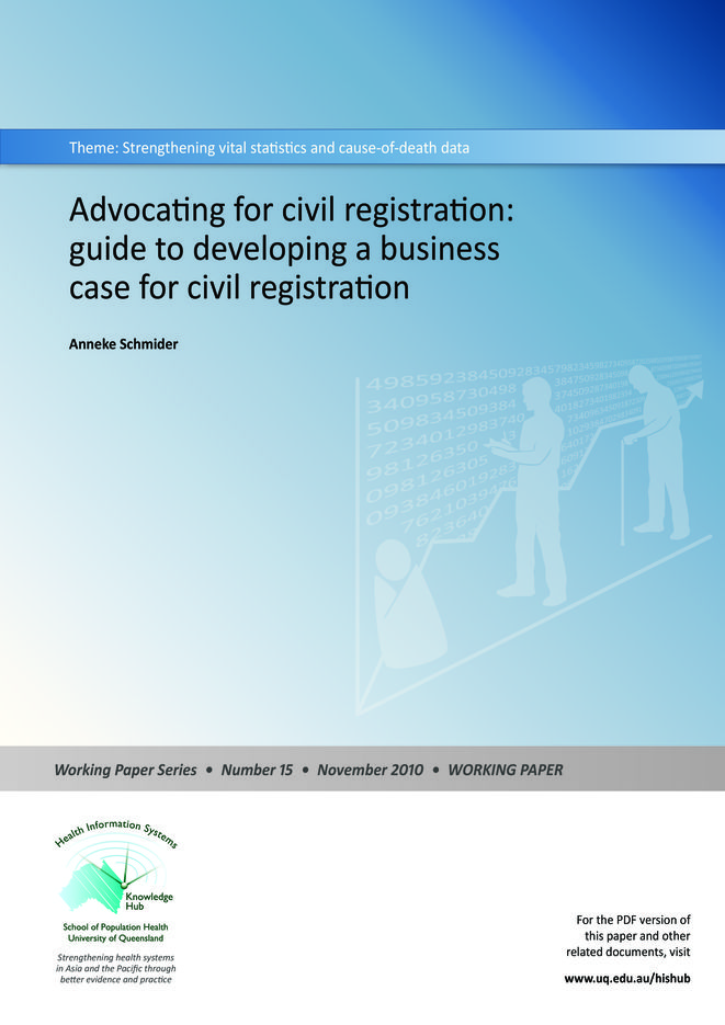 Advocating for civil registration: guide to developing a business case for civil registration